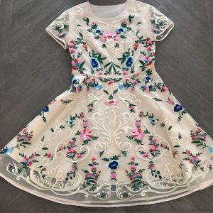 Garden Floral Embroidered Flared Dress